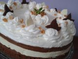 Pruhovaný dort z bílé a tmavé čokolády recept