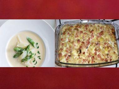 Oběd 100  Chřestová polévka a Zapečený květák