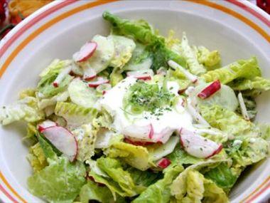 Míchaný zeleninový salát s křenovou zálivkou
