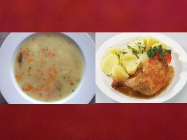 Oběd 35  Kuřecí polévka a pečené kuře