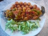 Pstruh pod zeleninovou peřinkou recept