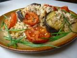 Zapečené mleté maso s rýží, lilkem a rajčaty recept