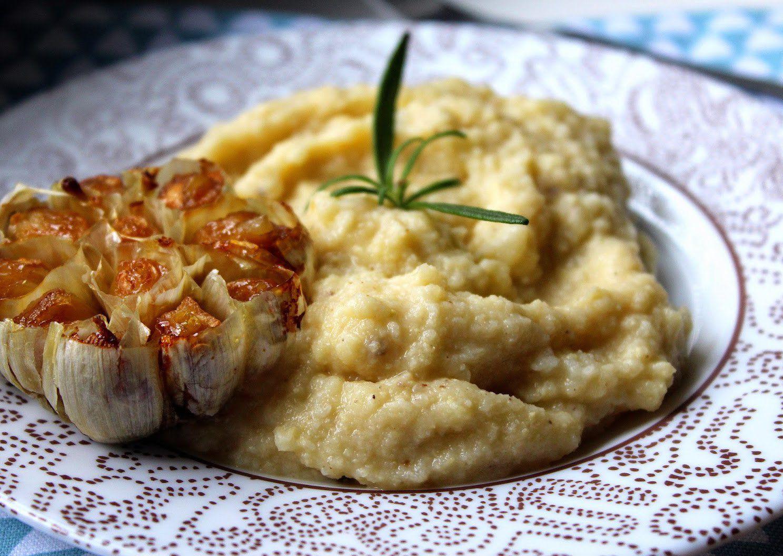 Jáhlovo-květáková kaše s pečeným česnekem recept