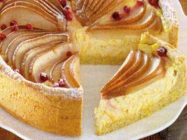 Dýňový koláč s tvarohem a hruškami