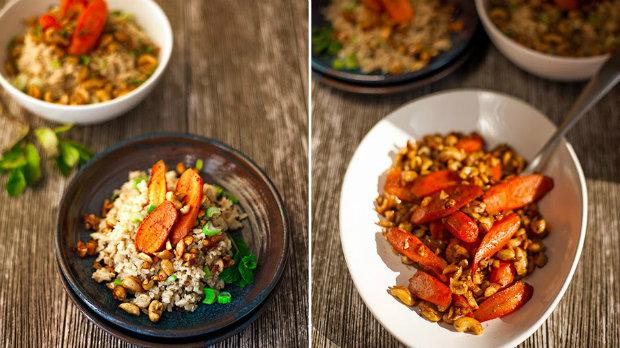 Koko-lime rýže s mrkvovými stripsy