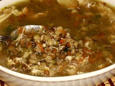 Polévka z mungo fazolí a naklíčené čočky