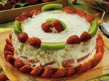 Vanilkový dort s ovocem  nepečený