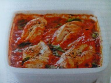 Kuřecí maso na rajčatech s bazalkou