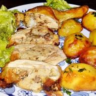 Pečená kuřecí stehna plněná játrovou nádivkou recept
