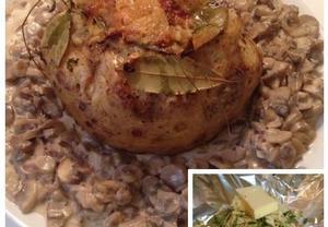 Celer pečený vcelku s houbovou omáčkou