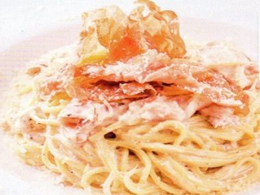 Špagety s parmskou šunkou a smetanou