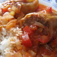 Plněné masovo-sójové papriky recept