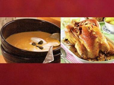 Oběd 83  Dýňová polévka a Kuře s nádivkou