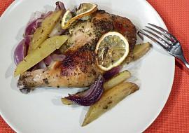 Citronové kuře s bramborami a červenou cibulí recept
