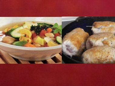 Oběd 74  Krůtí závitky na víně a Minestrone