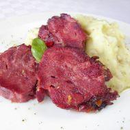Uzený vepřový jazyk s bramborovo-kroupovou kaší recept
