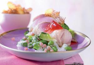 Grilovaná ryba s rebarborovým želé