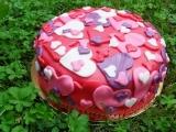 Srdíčkový potahovaný dort recept