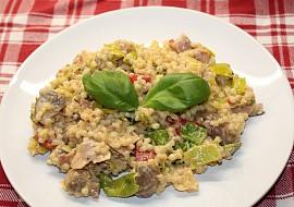 Kroupový salát s pórkem a houbami recept