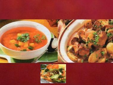 Sváteční oběd 7  guláš s liškami, pikantní polévka a salát