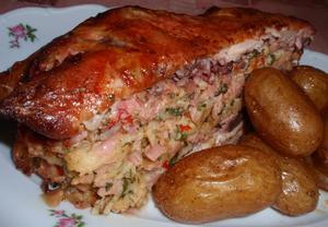 Kuře plněné kopřivovou nádivkou
