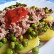 Obložené nové brambory s tuňákem recept