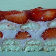 Nepečený dort s jahodami a želé recept