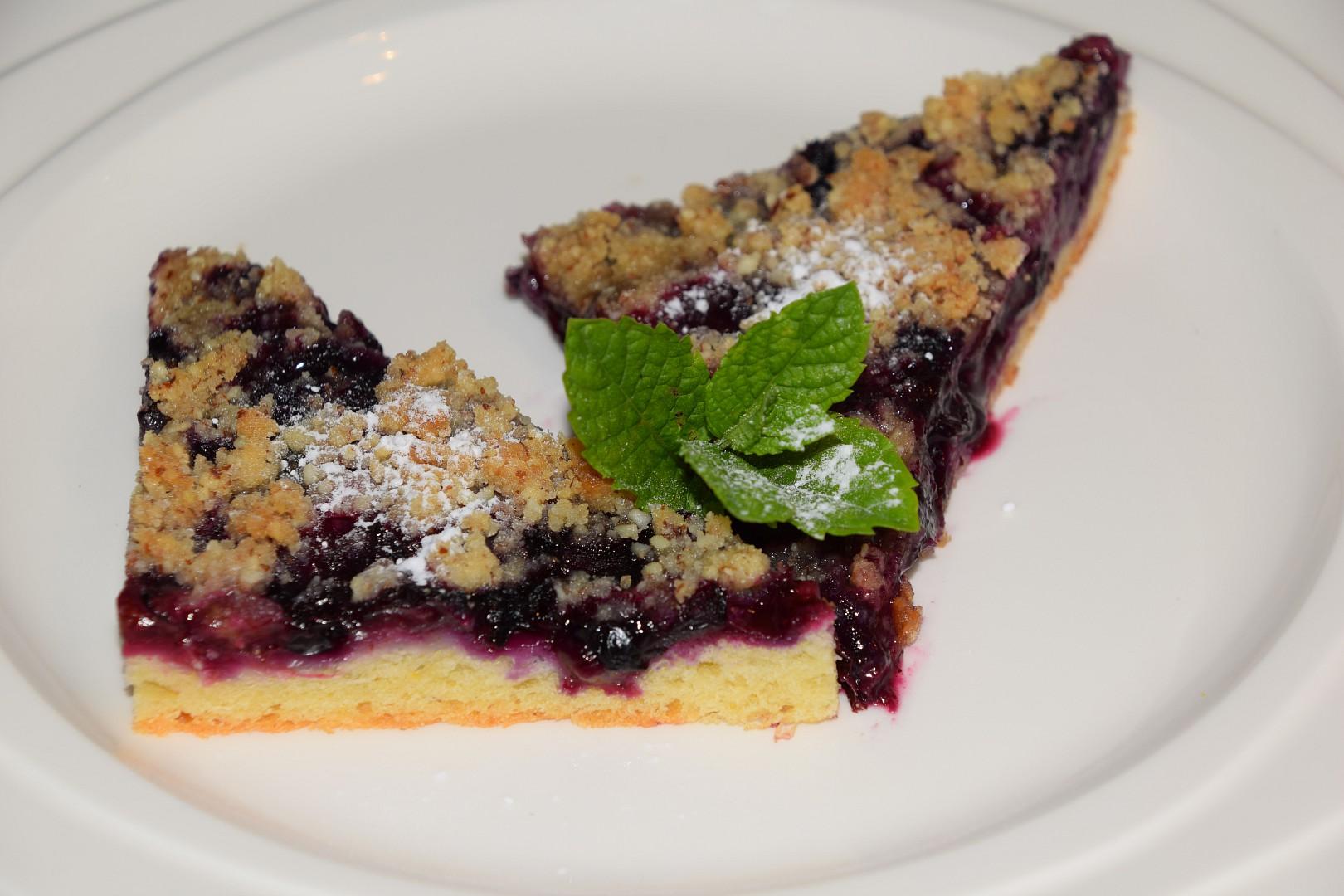 Borůvkový koláč s mandlovou drobenkou recept
