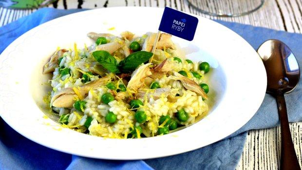 Krémové rizoto s uzenou makrelou a hráškem