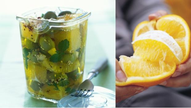 Marinované olivy s pomerančem