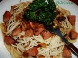 Špagety s uzeným masem a žampiony recept