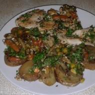 Kuřecí pečeně s brambory a brokolicí recept