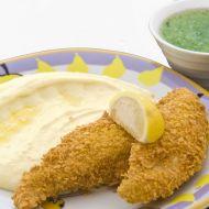 Smažená kuřecí prsa v corn flakes s kaší a okurkovým želé recept ...