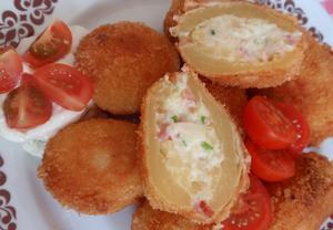Plněné smažené brambory