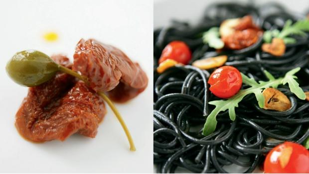 Sépiové špagety se sušenými rajčaty, rukolou a česnekovými chipsy ...