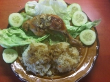 Pečené kuře na cibuli a česneku s rýží recept