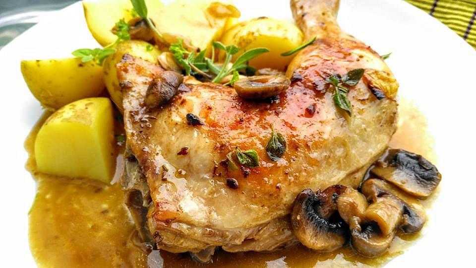 Kuře na másle a čerstvé majoránce recept