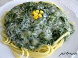 Špagety se špenátovo  smetanovou omáčkou bez lepku, mléka a ...