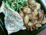 Pečený losos s opékanýma bramborama recept