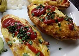 Housky zapečené se šunkou,sýrem a vejci recept