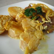 Zapečené kotletky s bramborem v kari omáčce recept