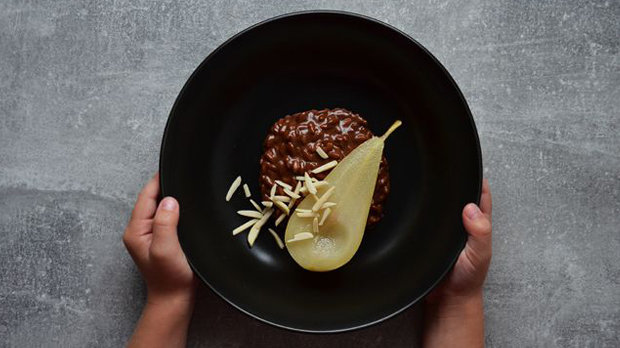 Čokoládové rizoto s hruškou