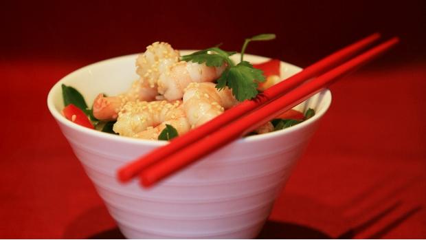 Krevety s wasabi omáčkou a rýžovými nudlemi