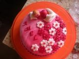 Růžový dortík recept