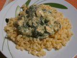 Těstoviny se sýrovou omáčkou kuřecím masem a špenátem recept ...