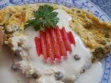Omeleta s hráškem a sýrovým přelivem recept