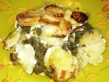 Zapečené brambory s pangasiem a špenátem recept