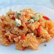 Pesto rizoto s paprikou a modrým sýrem recept