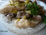 Kuřecí nudličky s játry a pórkem na smetaně recept