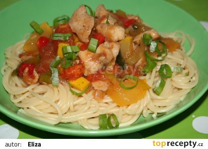 Zelenina s kuřecím masem a rýží recept
